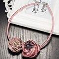 Rosa vermelho azul boho maxi colar gothic choker collares mulheres jóias colares artesanais de tecido flor pingentes para as mulheres mujer