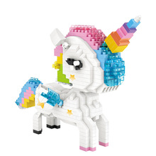цена на Diamond Blocks Unicorn Flamingo Anime Action Figure Cartoon Colorful Animals Educational Bricks Toys for Children