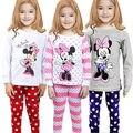 2016 primavera otoño nueva Minnie Ratón de Dibujos Animados Bebé Niños Niños Niñas ropa de Dormir Pijamas Set ropa de Noche Homewear Traje Ropa 1-8Y