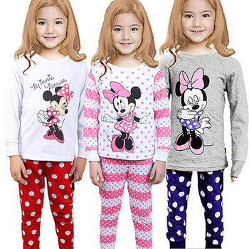 2016 spring fall new  Minnie Cartoon Mouse Baby Toddlers Kids Girls Nightwear Pajamas Set Sleepwear Homewear Clothing Suit 1-8Y