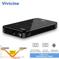 Vivicine 4 к мини проектор Android Bluetooth, 4000 мАч батарея, поддержка Miracast Airplay портативный мобильный проектор видео