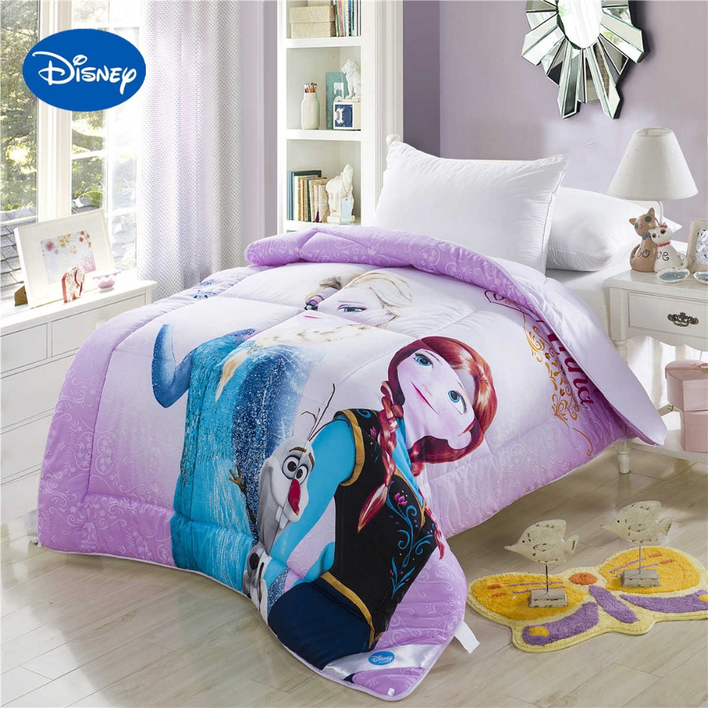 Frozen Elsa Anna 3D Printed Comforter Disney Bedding Character Cotton Cover Girls Hoom Decor Single Twin Full Queen Size Purple