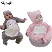 2016 High Quality Newborn Baby Rompers Totoro Baby Spring Winter Long Sleeved Romper Hat Set Soft