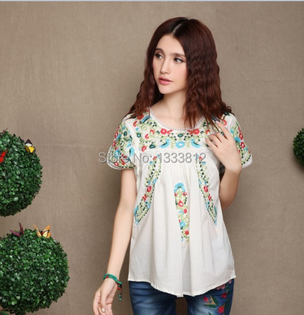 d1aa2f3fa5c16 Detail Feedback Questions about Free shipping Vintage 70s Scallop Top Hippie  Mexican BOHO Ethnic Floral Embroidered Blouse Mini Cotton Dress Ladies  ChicTops ...