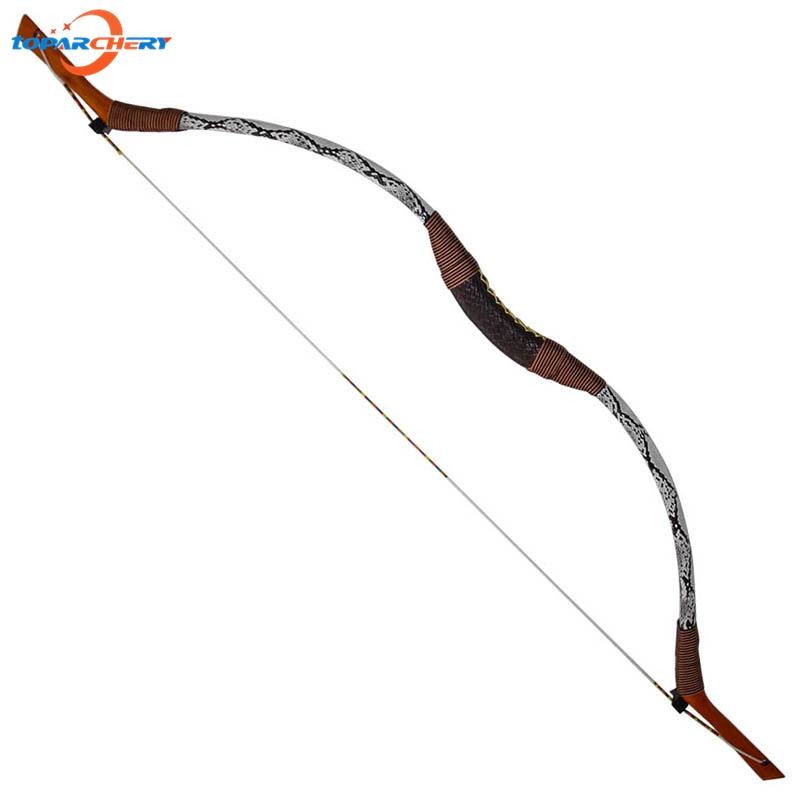 144cm Traditional Handmade Snakeskin Recurve bow 45lbs 50lbs Archery Hunting Shooting Wood and fiberglass laminated Longbow