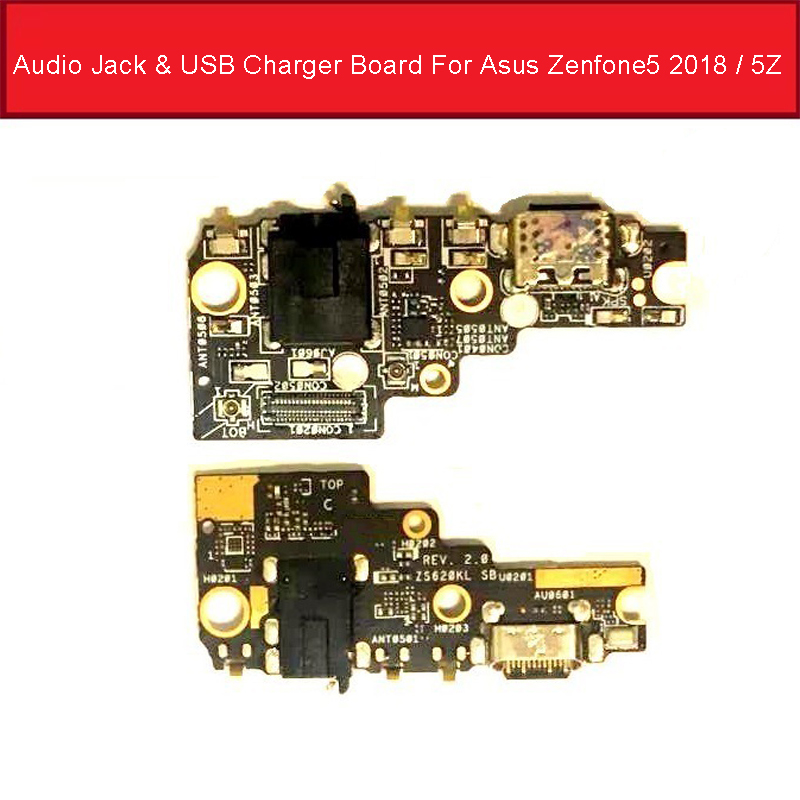 Audio Jack & USB Charger Board For Asus Zenfone 5 2018 5Z ZE620KL Z01RD Charging Port Dock Connector With Microphone Tested Good