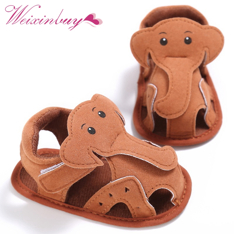 Elephant Pattern Hollow Baby Boy Casual Prewalkers Soft Sole Summer Shoes 0-18 M New