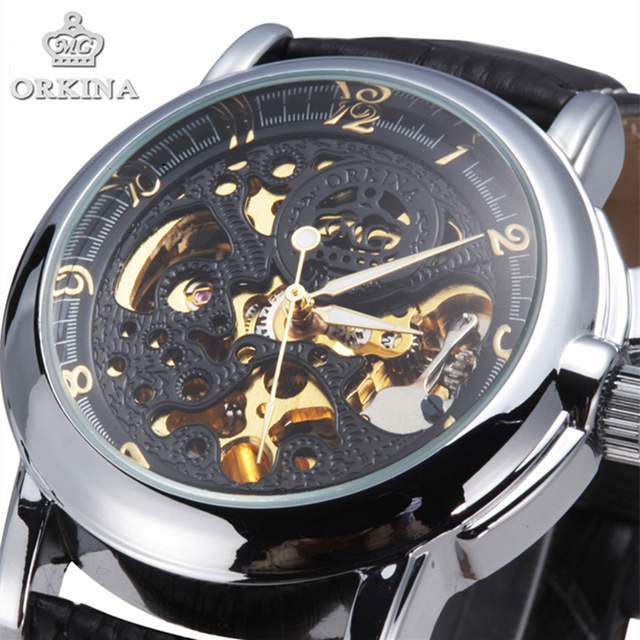 Vintage Negro hombres esqueleto relojes reloj hombre correa de cuero  ocasionales de Steampunk esqueleto mecánico automático 58d21d1e7a86