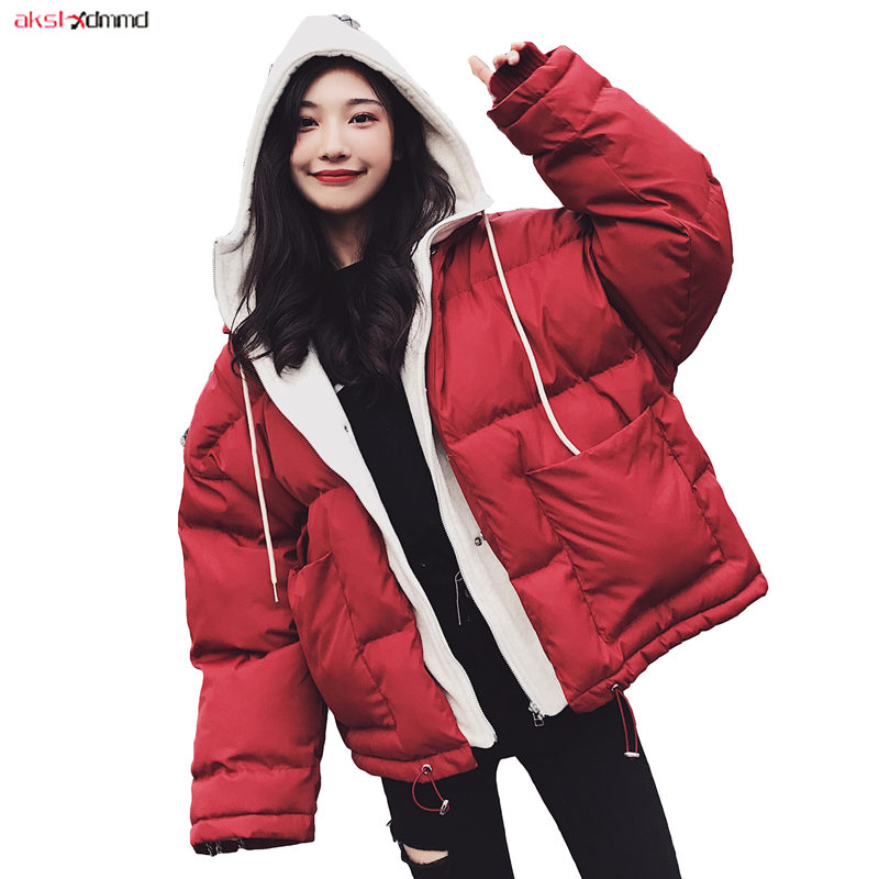 2019 New Women Winter Cotton Padded Coat Warm Hooded Jacket Loose Casual Outer Korean Style Outwear Short Vintage   Parkas   AC308