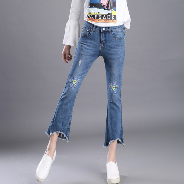 6398d412ce All Sizes XXS-7XL Women jeans With Embroidery 2017 American Apparel Mom  Jeans Feminino Elasticity Skinny Bell Bottom Jeans 1089