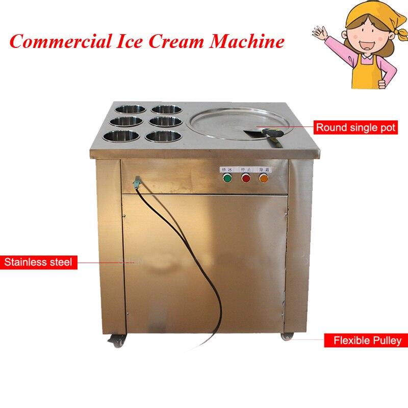 Большая сковорода для жареного мороженого, коммерческое оборудование для жарки мороженого с 6 бочками CBJ 1 * 6