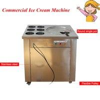 Большая сковорода жареного мороженого коммерческое оборудование для жарки мороженого с 6 бочками CBJ 1 * 6