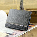 Fashion Men Wallets Quality PU Leather Patchwork Wallet Black Gray Business Casual Short Style Card Holder Purse Free Shipping