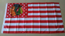 NHL blackhawk with Stripes And Stars Flag 150X90CM  NHL  3X5 FT Banner 100D Polyester flag grommets 009, free shipping