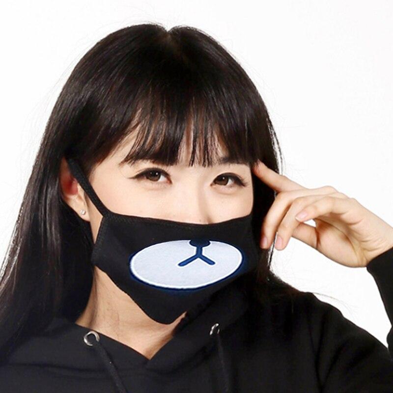 Fashion-Black-Anti-Dust-Cotton-Cute-Bear-Masks-Anime-Cartoon-Kpop-Lucky-Bear-Women-Men-Muffle
