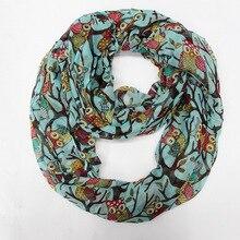Г. осенние модные женские шарфы с принтом животных сова шарф милый шарф Сова с отрасль вуаль долго платок