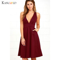 Sisjuly Women Elegant Swing Dress Lady Sexy Deep V Neck Sleeveless Dress Female Vestido Work Formal