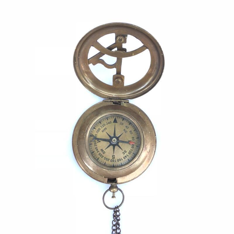 Pur cuivre montre de poche boussole rétro en laiton massif bouton montre de poche en plein air boussole boussole collection antique
