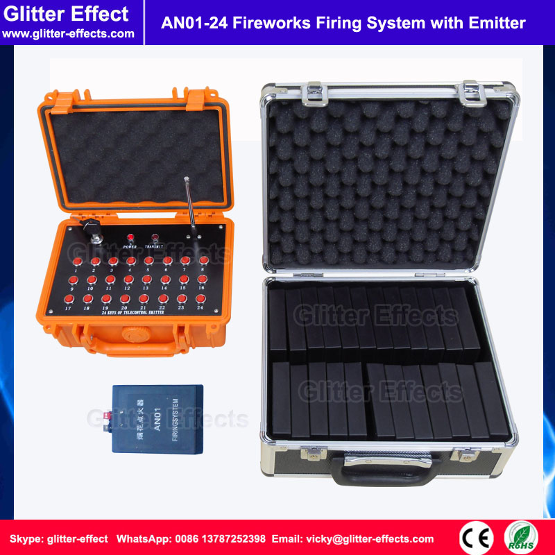 Waterproof suitcase emitter with 24 receivers fireworks firing system pyrotechnic Wireless Igniter Fireworks firing console 2 receivers 60 buzzers wireless restaurant buzzer caller table call calling button waiter pager system