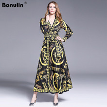 Banulin 2019 New Women Spring Autumn Long Sleeve Dress High Quality Retro Animal Printed Runway Vintage