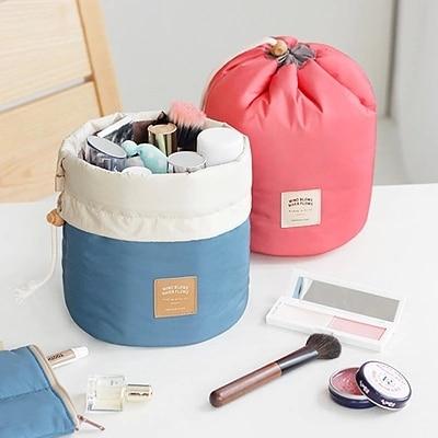 New arrival barrel shaped travel cosmetic bag nylon high capacity drawstring elegant drum wash bags makeup