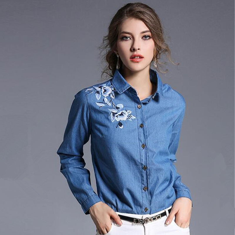 790699a8fff7 Online Buy Wholesale embroidered denim shirt from China .