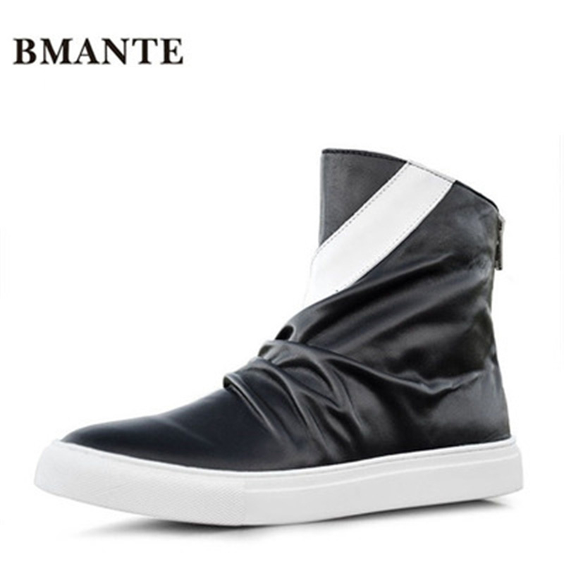 Solid Flats Spring Black Shoes Genuine Leathe Male High Top Ankle Boots Men Owen Shoes Trainers Lace-Up Zip Sneaker owen seak women shoes high top ankle boots genuine leather luxury trainers sneaker casual lace up zip flat shoes black white big