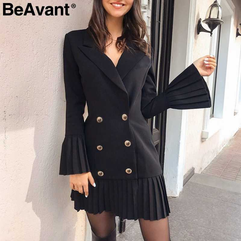BeAvant Pleated double breasted women dress Office ladies casual blazer dresses Autumn winter slim suit female white dress 2019