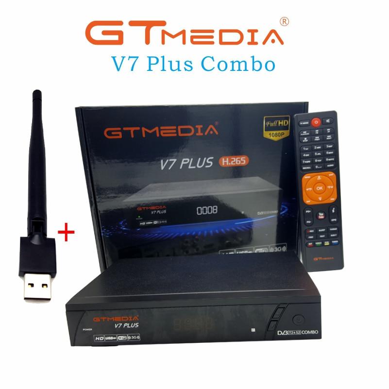 Receptor de satélite gtmedia v7 plus, suporte para h.265 powerpra biss key ccam newam youtube usb wifi dvb-t2 p full hd