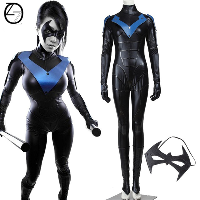 Batman Arkham City Night Costume Cosplay Halloween Costumes For Adult Women Batman Female Nightwing Jumpsuit Fancy Costume