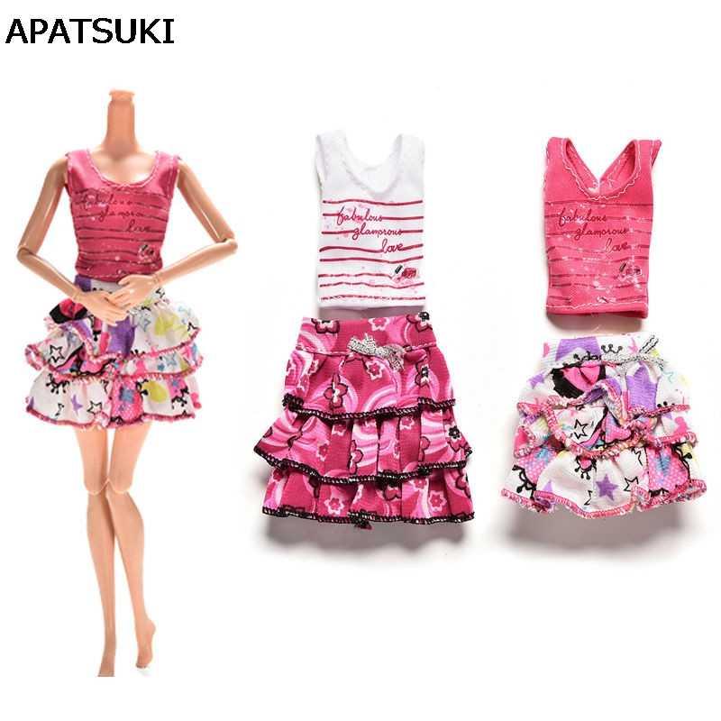 Один комплект одежды куклы юбка-пачка + короткие-Футболка с рукавами для куклы Барби Одежда для 1/6 BJD куклы Кукла аксессуар