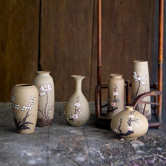 Jingdezhen Handmade Ceramic Vase Retro Idyllic Flowers With Coarse
