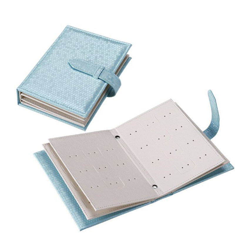 Pu Leather Stud Earrings Collection Jewelry Book Pattern Portable Jewelry Page Jewel Display Creative Jewelry Storage Box Blue
