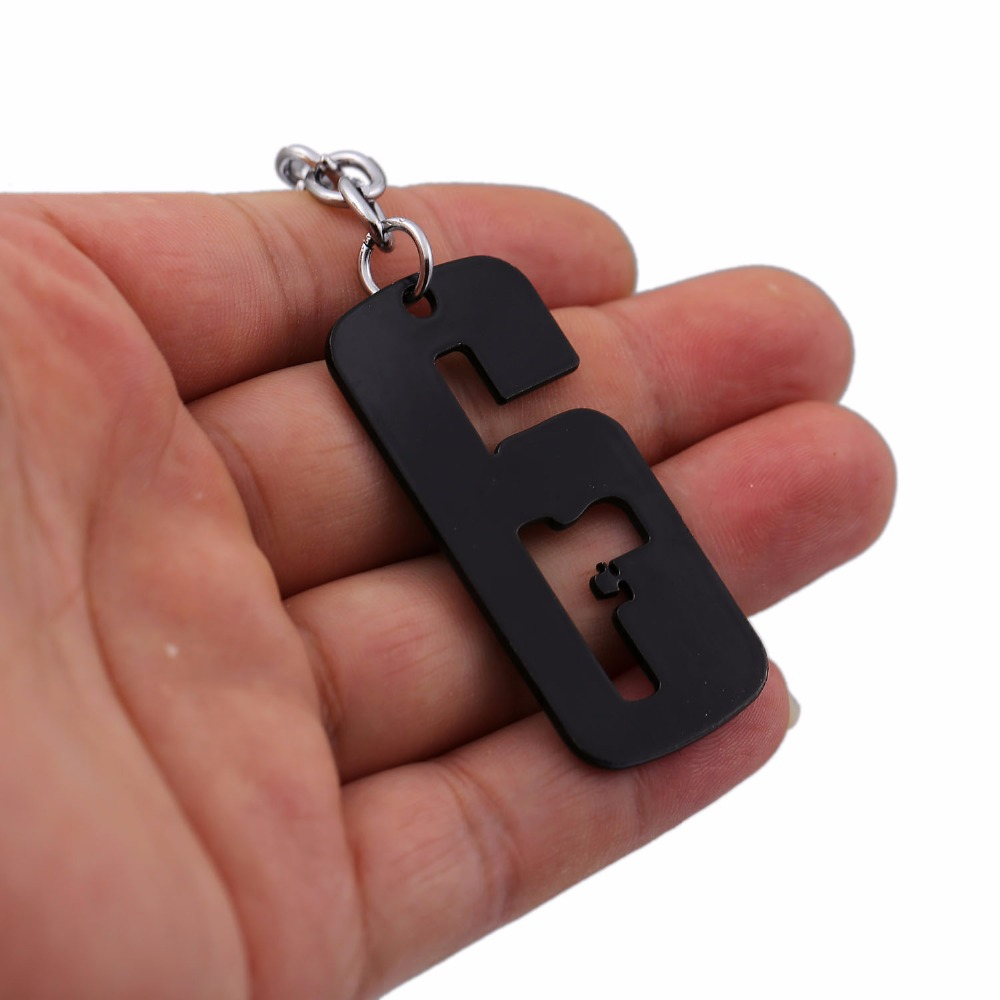 HSIC New 2017 Rainbow Six Keychain Black Siege 6 Key Ring Holder For Boys Men Car Chaveiro Game Key Chain HC12260