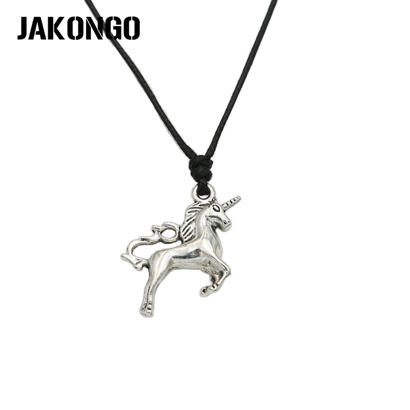 Earnest Jakongo Tibetan Silver Plated Unicorn Pendant Necklace Rope Diy Charms Necklace For Women Men Handmade Adjustable Can Be Repeatedly Remolded.
