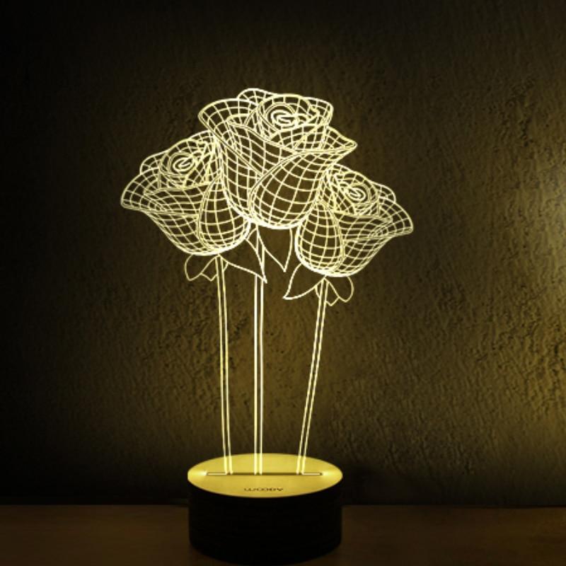 3D LED USB Wooden Night Table Lamp Desk Light Modern luminaria de ...