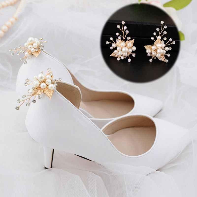 Ayakkabı ayakkabı Altın Yaprak Alaşım Düğün Ayakkabı Yüksek Topuk Dekorasyon Kadın Takılar Lüks moda ayakkabılar Süs DIY Ayakkabı Aksesuarları