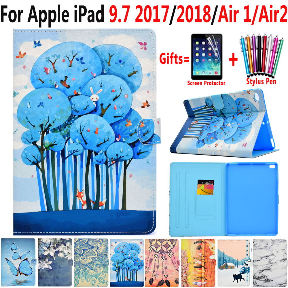 Fashion Case for Apple iPad 9.7 2017 2018 iPad Air 1 2 iPad 5 6 5th 6th Generation Painted Leather Smart Flip Soft Silicon Cover