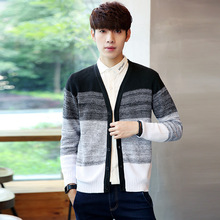 new males's vogue single breasted v-neck cardigan coloured wool informal sweater