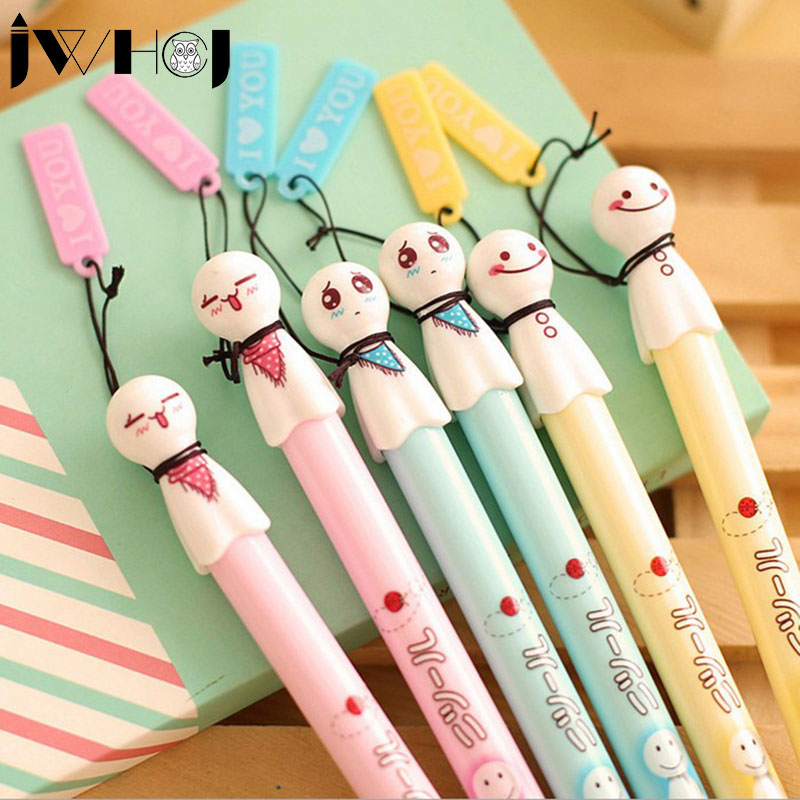 цена на 6 pcs/lot cute face gel pen cute pens material escolar kawaii stationery canetas escolar school office supplies Free shipping