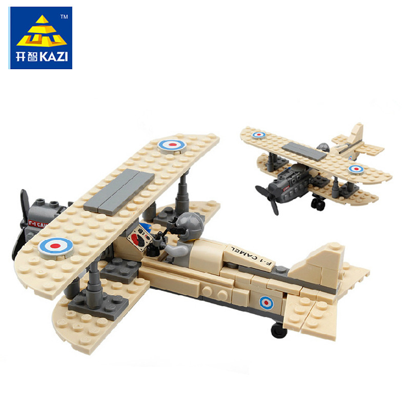 KAZI 82001 Century Military Sopwith F-1 Camel Fighter Plane Building Blocks Set Pilot Figures Kids DIY Brick Toy Christmas Gift solar military transport plane baron p320 jigsaw puzzle building blocks environmental diy toy