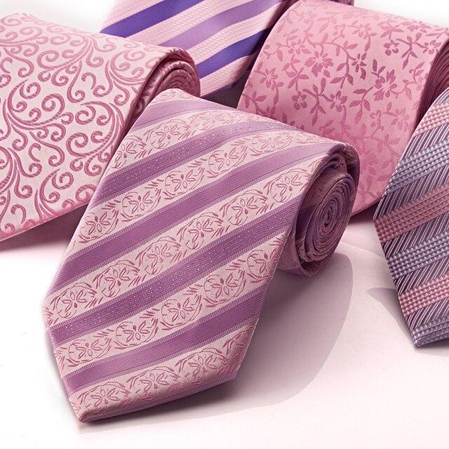 Качество бренда мужской формальный коммерческий свадебный галстук замуж розовый подарочный бокс-сет бесплатная доставка