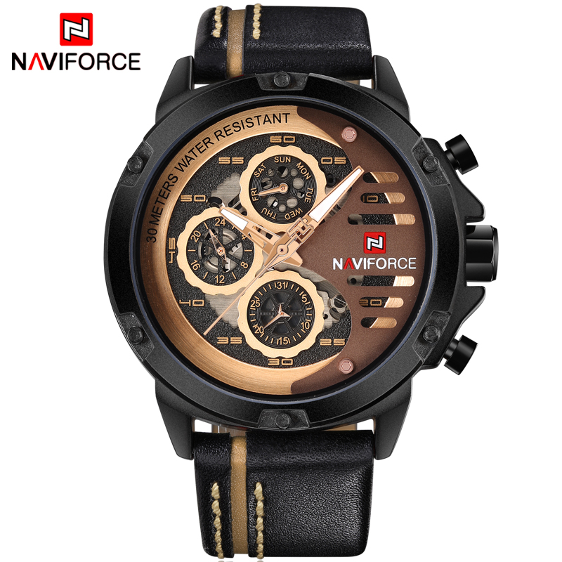 NAVIFORCE Watches Men Luxury Brand Fashion Casual Watch Quartz Clock Men Sport Watches Men's Leather Military Wrist Watch+box men sport watch naviforce luxury brand men military quartz watches fashion casual leather strap auto date 30m waterproof watches