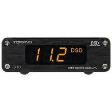 جهاز فك ترميز الصوت لمكبر الصوت DAC المصغر USB D10 مع خط خرج ودعم بصري محوري DSD256 (أصلي) جهاز فك الترميز