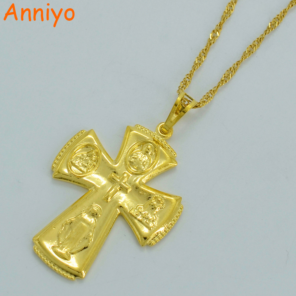 Anniyo Gold Cross Necklaces for Women/Men Virgin Mary and Chs