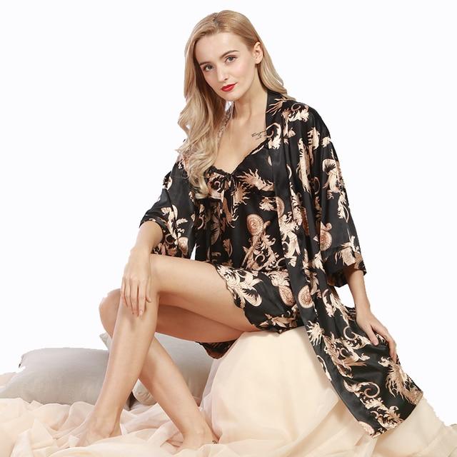 Spring New Women Night Dress 2 Pcs Robes Bathrobes Longue Femme Robe ...