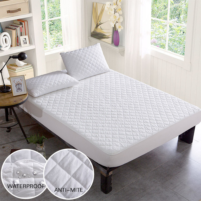 White Waterproof Mattress Cover Jacquard Breathable Bed Cover