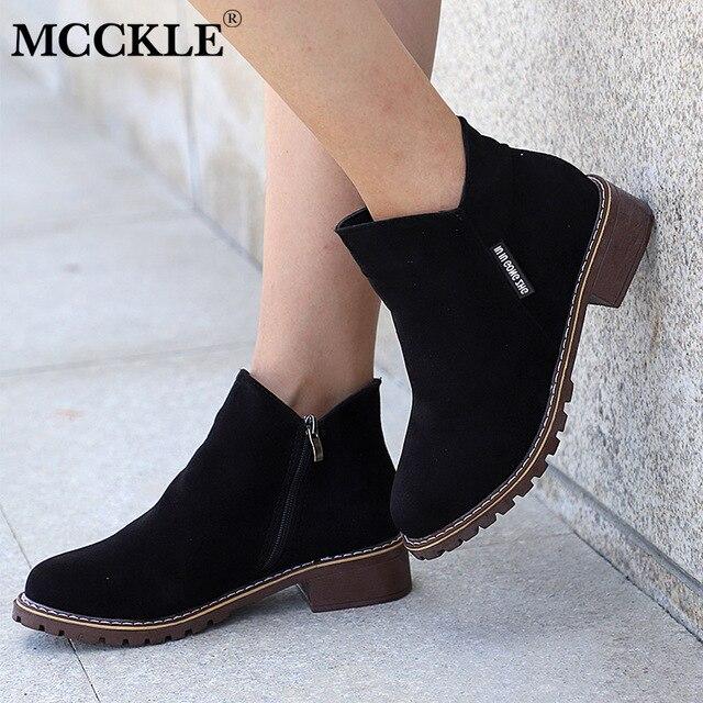 2bf0cd63 MCCKLE botas de tobillo de primavera para mujer botas de tacón bajo con  cremallera plataforma 2019