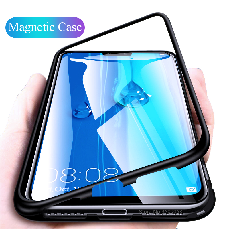 magnetic flip case for huawei Y9 2019 case cover clear transparent tempered glass back cover metal frame protective coque