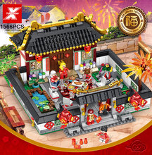 2019 china new year Spring Festival Family reunion dinner building block figures street view Big house moc brick toys collection(China)